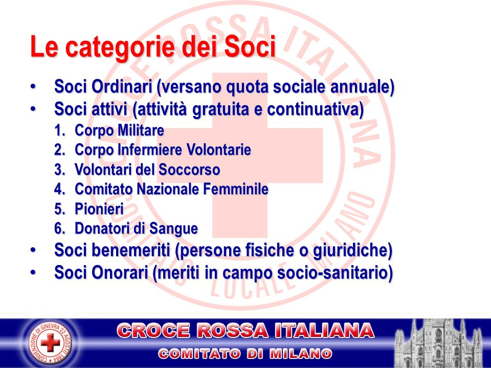 Le categorie dei Soci Soci Ordinari (versano quota sociale annuale)