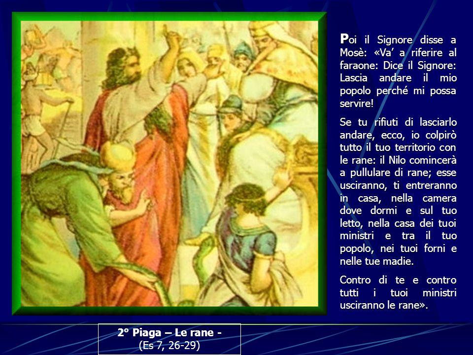 Poi il Signore disse a Mosè: «Va' a riferire al faraone: Dice il Signore: Lascia andare il mio popolo perché mi possa servire!