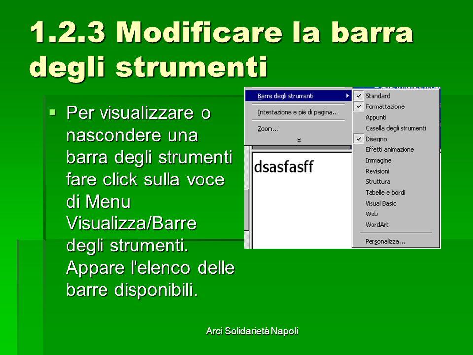 1.2.3 Modificare la barra degli strumenti