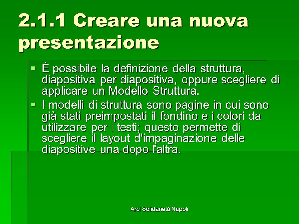 2.1.1 Creare una nuova presentazione