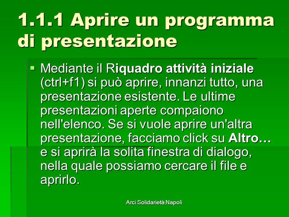 1.1.1 Aprire un programma di presentazione