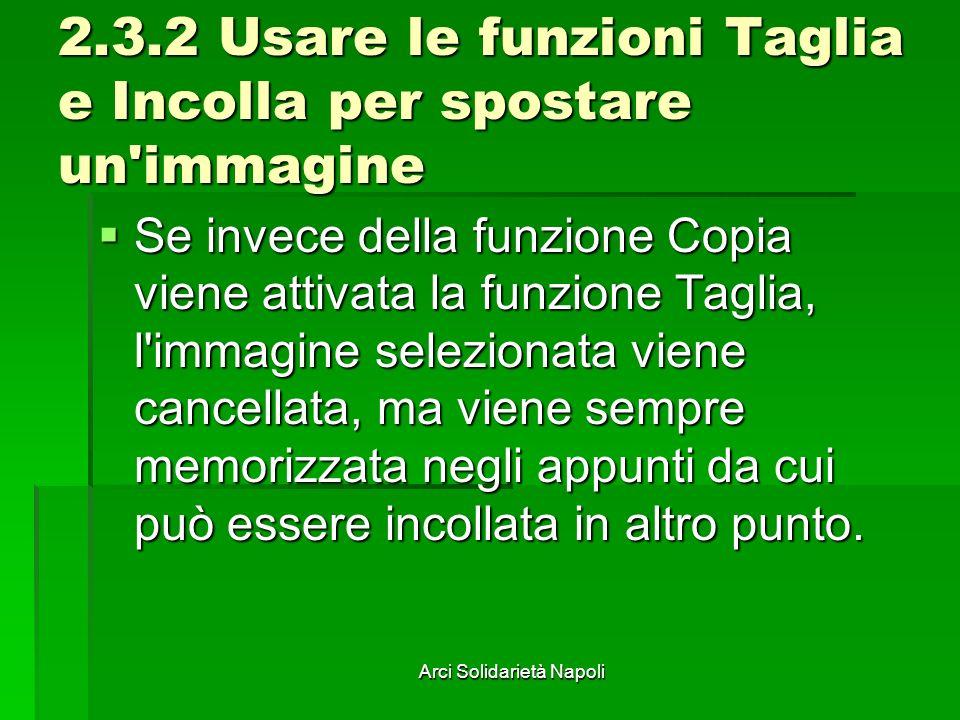 2.3.2 Usare le funzioni Taglia e Incolla per spostare un immagine