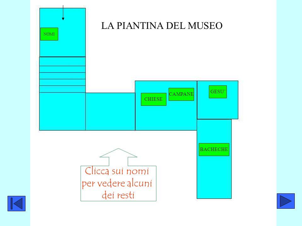 LA PIANTINA DEL MUSEO Clicca sui nomi per vedere alcuni dei resti