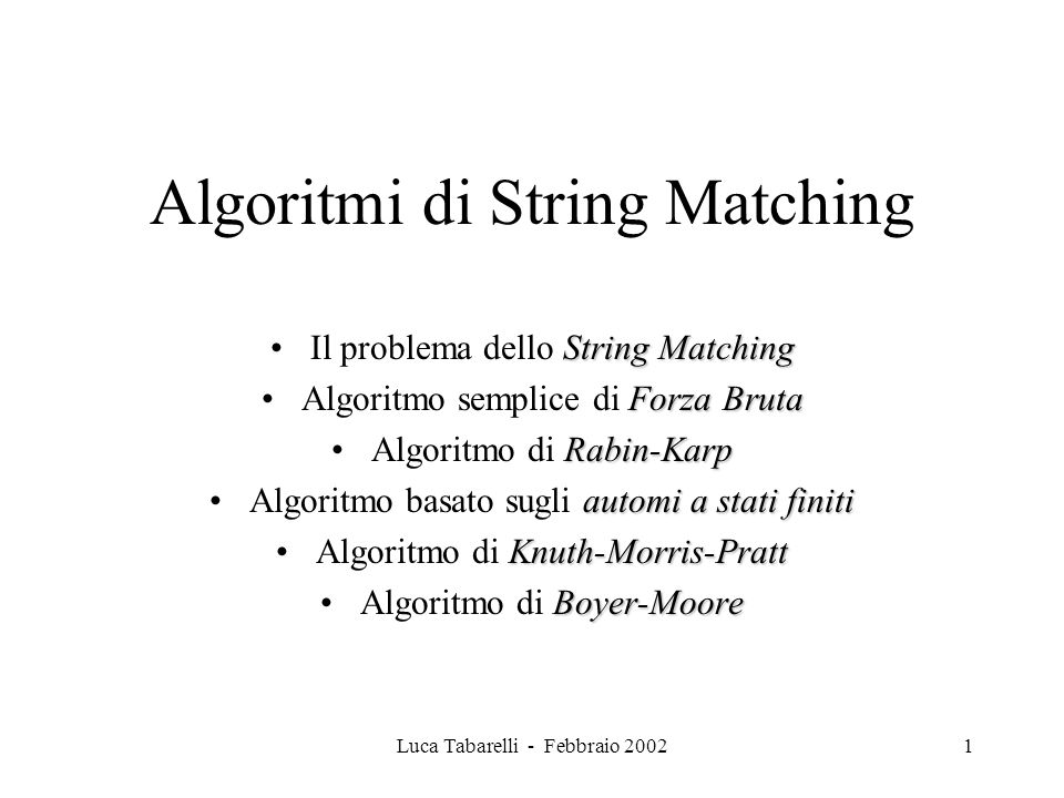 Algoritmi di String Matching