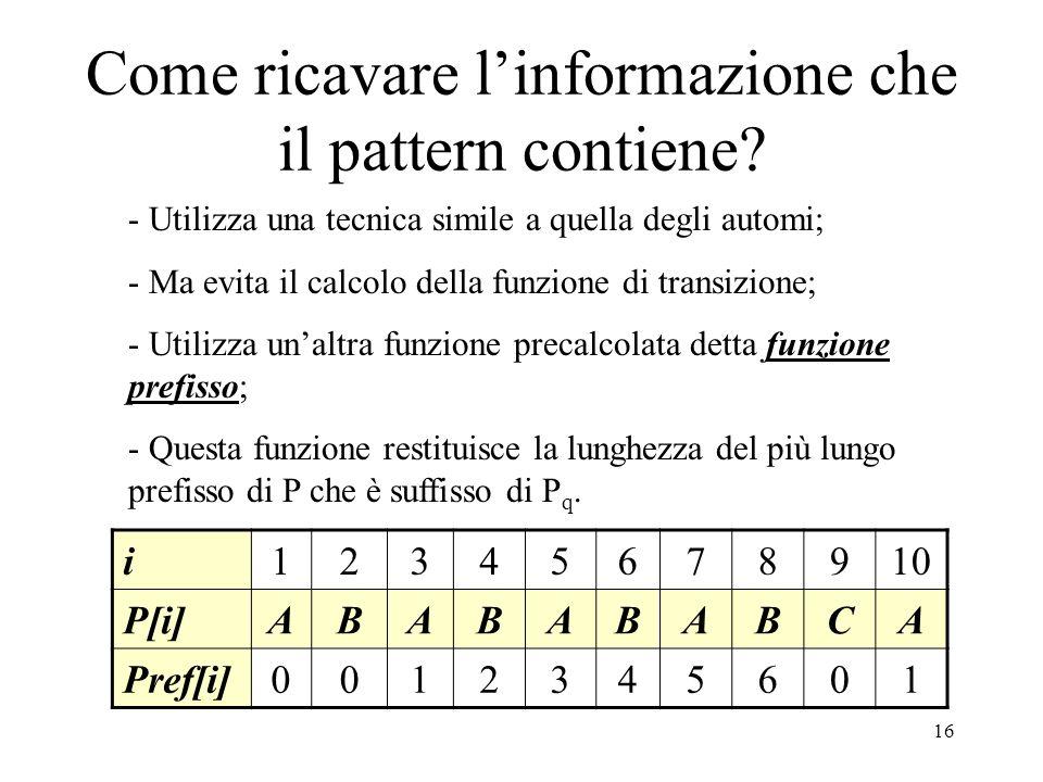 Come ricavare l'informazione che il pattern contiene
