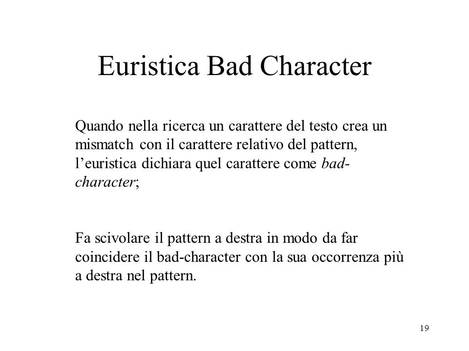 Euristica Bad Character