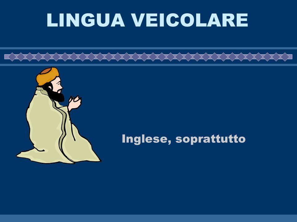 LINGUA VEICOLARE Inglese, soprattutto