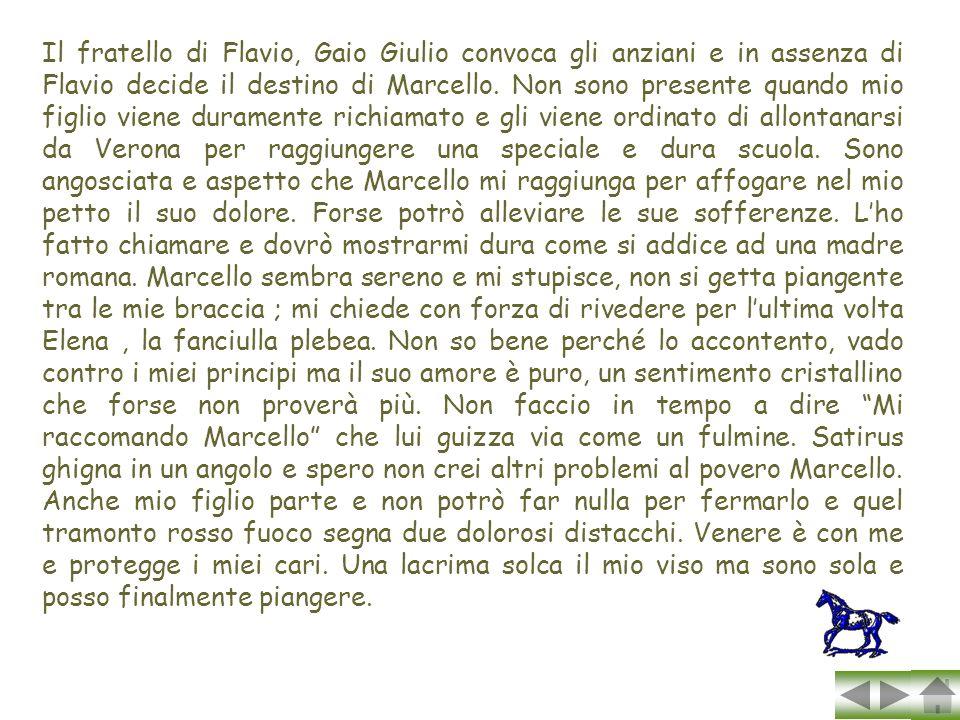 Il fratello di Flavio, Gaio Giulio convoca gli anziani e in assenza di Flavio decide il destino di Marcello.