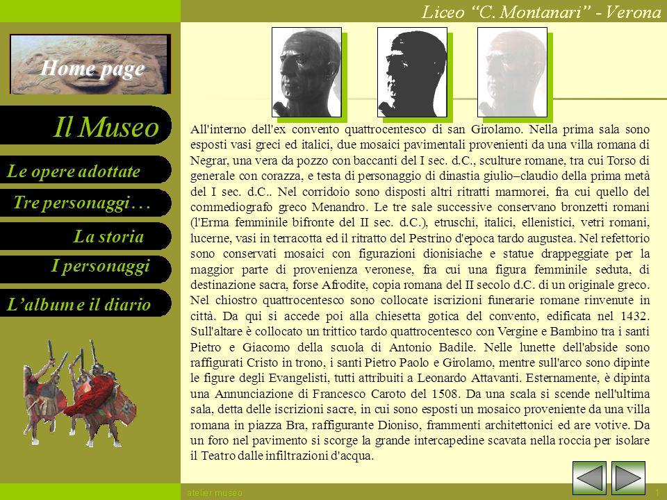 Home page Le opere adottate Tre personaggi… La storia I personaggi