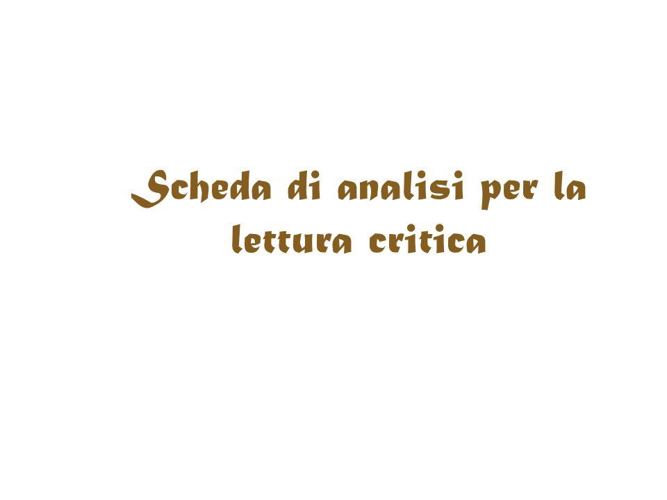 Scheda di analisi per la lettura critica