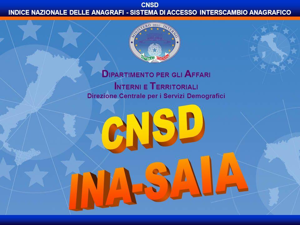 CNSD INA-SAIA DIPARTIMENTO PER GLI AFFARI INTERNI E TERRITORIALI