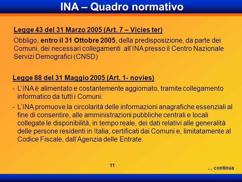 INA – Quadro normativo Legge 43 del 31 Marzo 2005 (Art. 7 – Vicies ter)