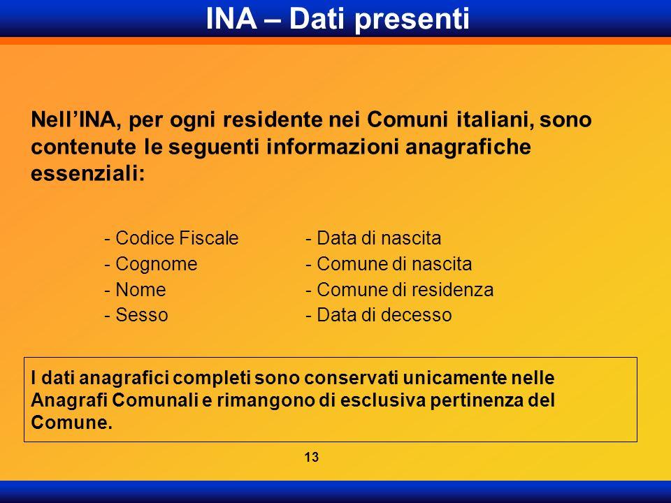 INA – Dati presenti Nell'INA, per ogni residente nei Comuni italiani, sono contenute le seguenti informazioni anagrafiche essenziali: