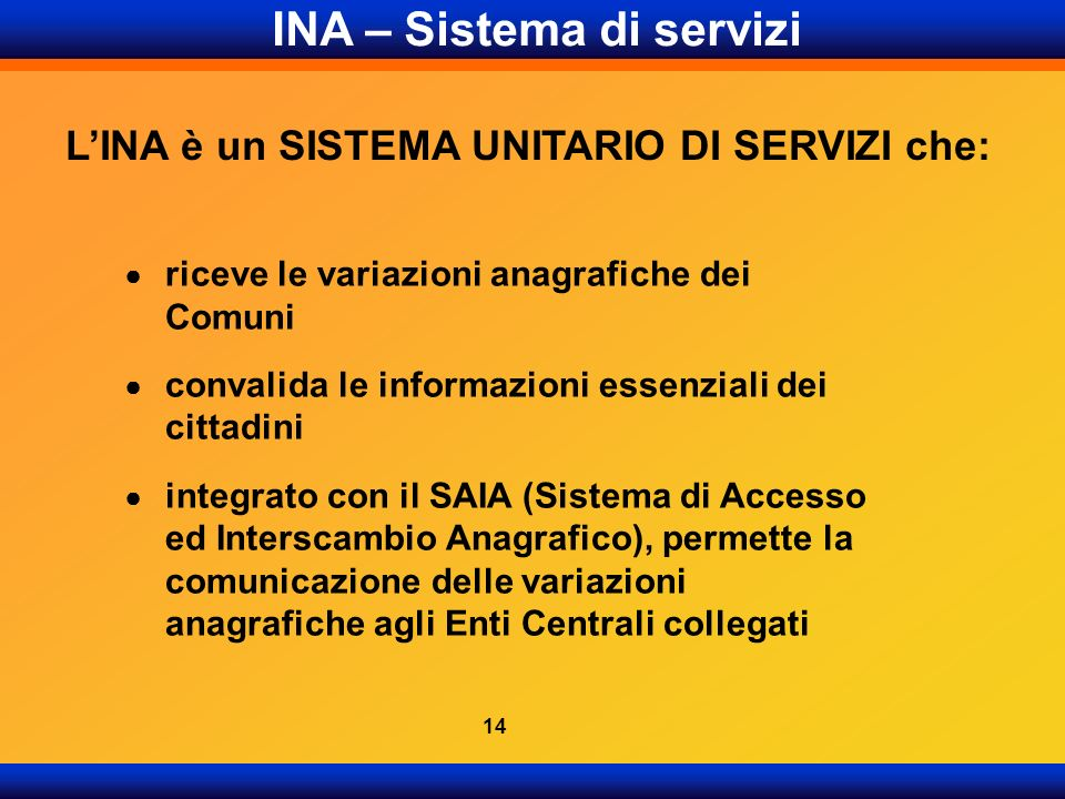 INA – Sistema di servizi