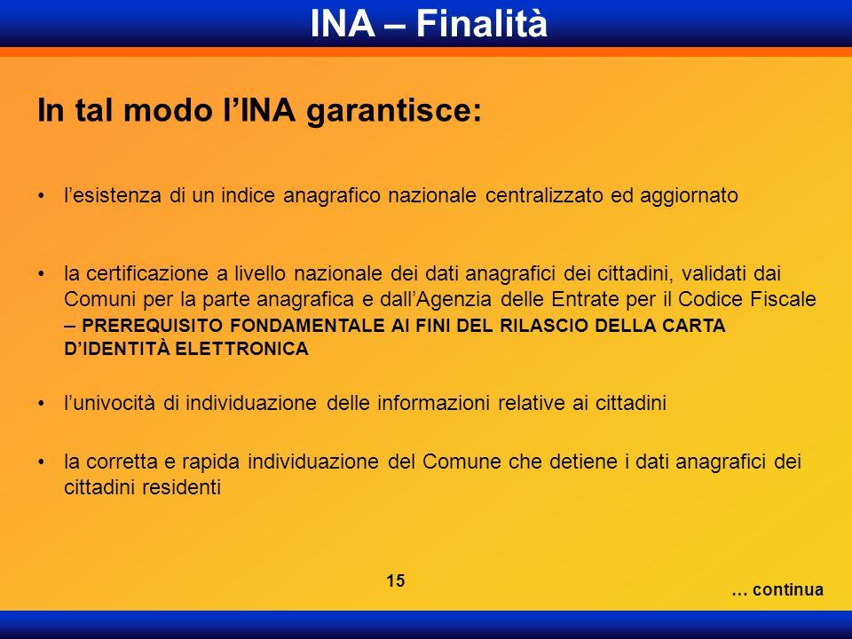 INA – Finalità In tal modo l'INA garantisce:
