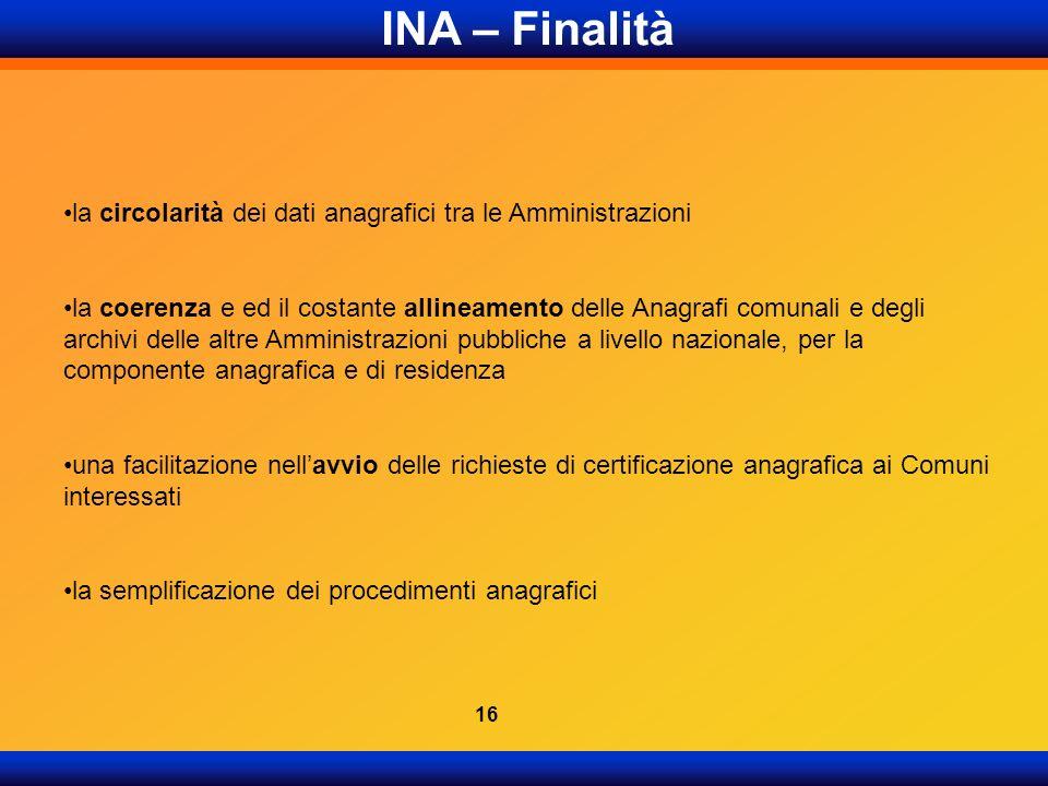 INA – Finalità la circolarità dei dati anagrafici tra le Amministrazioni.
