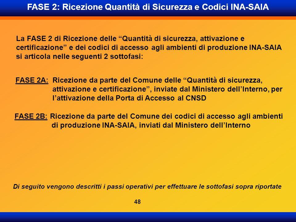 FASE 2: Ricezione Quantità di Sicurezza e Codici INA-SAIA