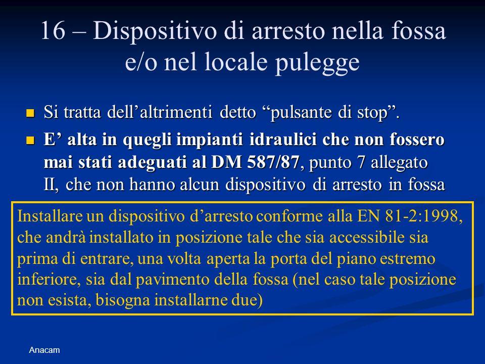 16 – Dispositivo di arresto nella fossa e/o nel locale pulegge