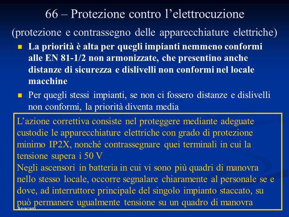 66 – Protezione contro l'elettrocuzione (protezione e contrassegno delle apparecchiature elettriche)