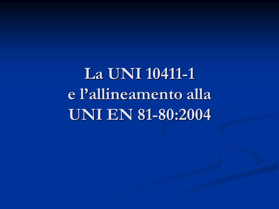 La UNI 10411-1 e l'allineamento alla UNI EN 81-80:2004