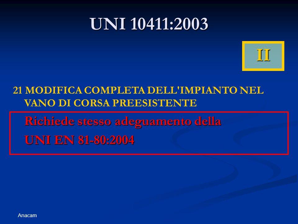 UNI 10411:2003 II Richiede stesso adeguamento della UNI EN 81-80:2004