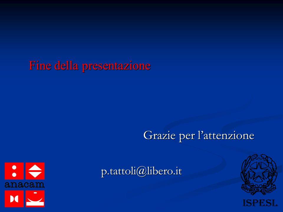 Fine della presentazione Grazie per l'attenzione p.tattoli@libero.it