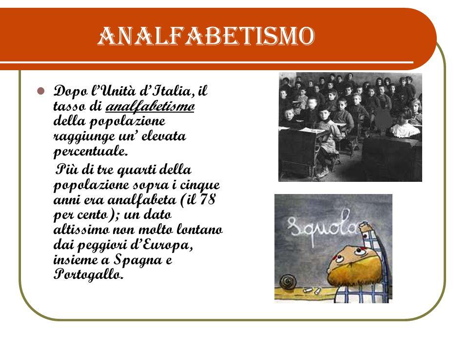 ANALFABETISMO Dopo l'Unità d'Italia, il tasso di analfabetismo della popolazione raggiunge un' elevata percentuale.