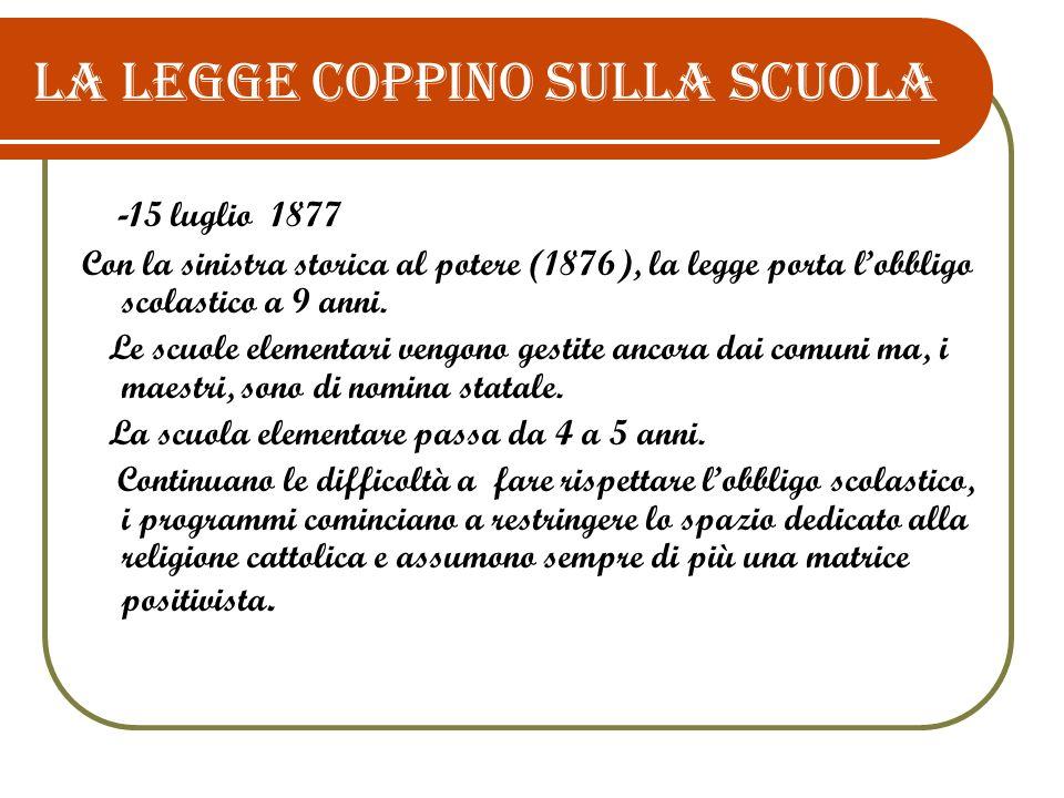 La legge Coppino sulla scuola