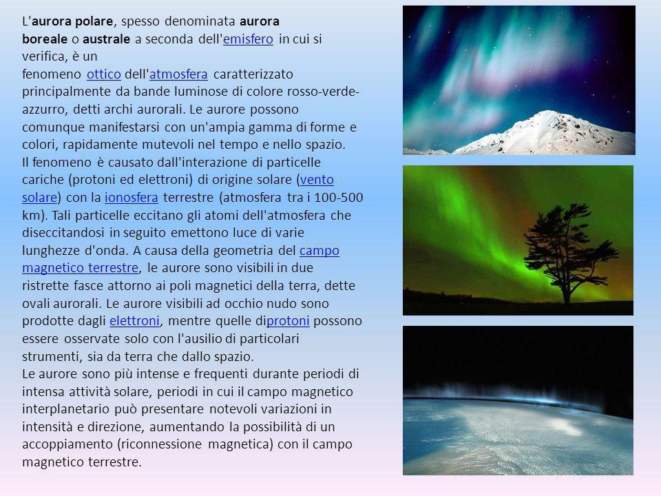 L aurora polare, spesso denominata aurora boreale o australe a seconda dell emisfero in cui si verifica, è un fenomeno ottico dell atmosfera caratterizzato principalmente da bande luminose di colore rosso-verde-azzurro, detti archi aurorali. Le aurore possono comunque manifestarsi con un ampia gamma di forme e colori, rapidamente mutevoli nel tempo e nello spazio.