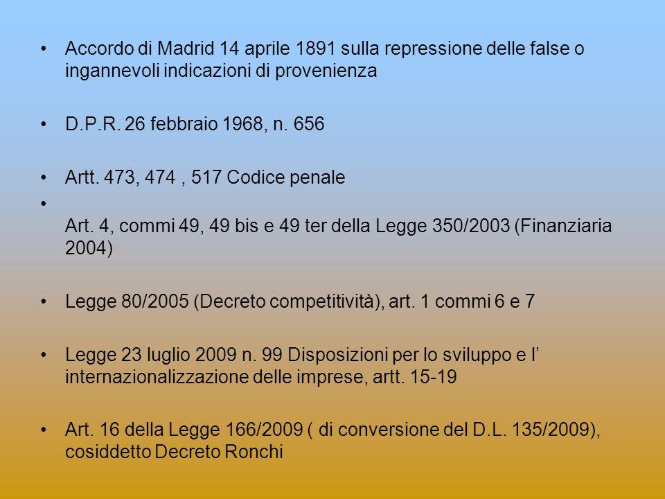 Accordo di Madrid 14 aprile 1891 sulla repressione delle false o ingannevoli indicazioni di provenienza.