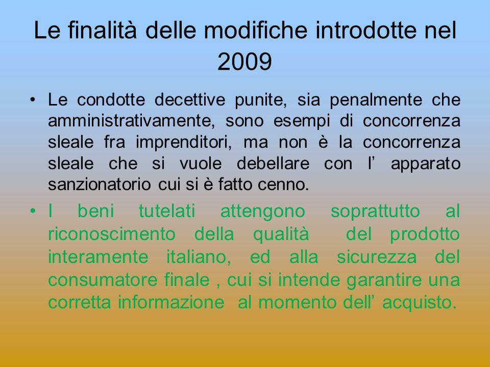Le finalità delle modifiche introdotte nel 2009
