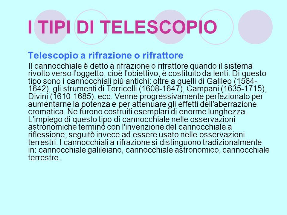 I TIPI DI TELESCOPIO Telescopio a rifrazione o rifrattore