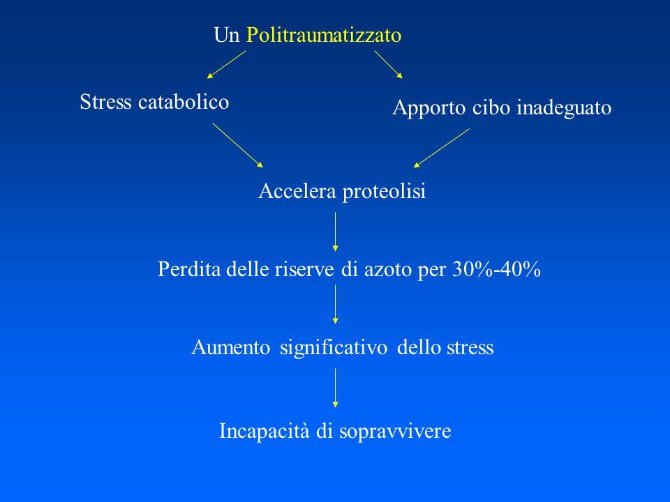Un Politraumatizzato Stress catabolico. Apporto cibo inadeguato. Accelera proteolisi. Perdita delle riserve di azoto per 30%-40%