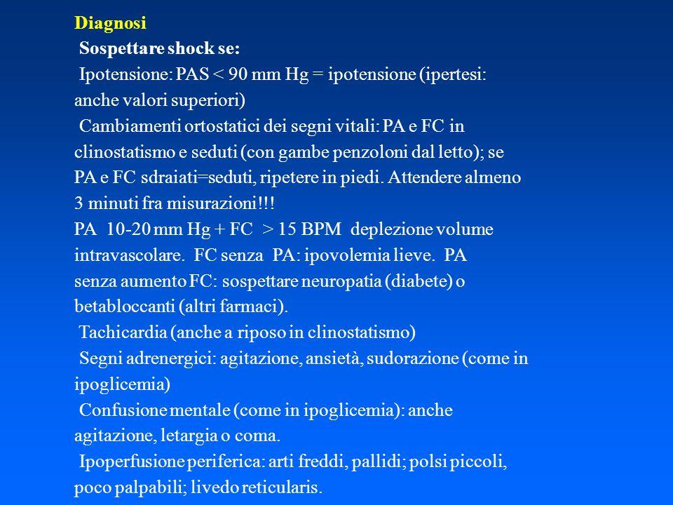 Diagnosi Sospettare shock se: Ipotensione: PAS < 90 mm Hg = ipotensione (ipertesi: anche valori superiori)