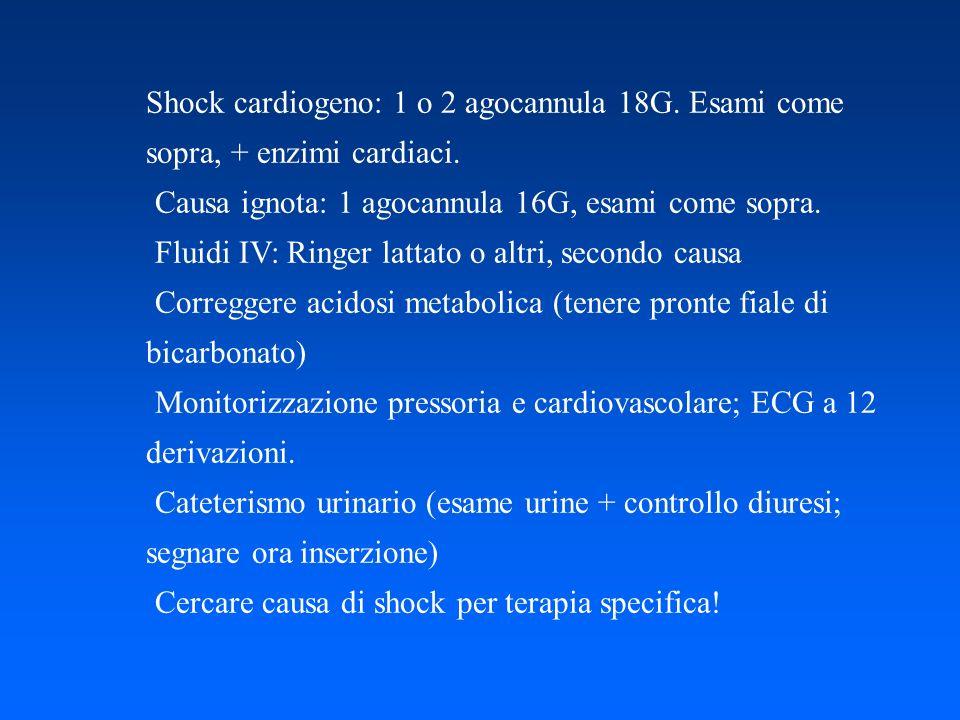 Shock cardiogeno: 1 o 2 agocannula 18G. Esami come