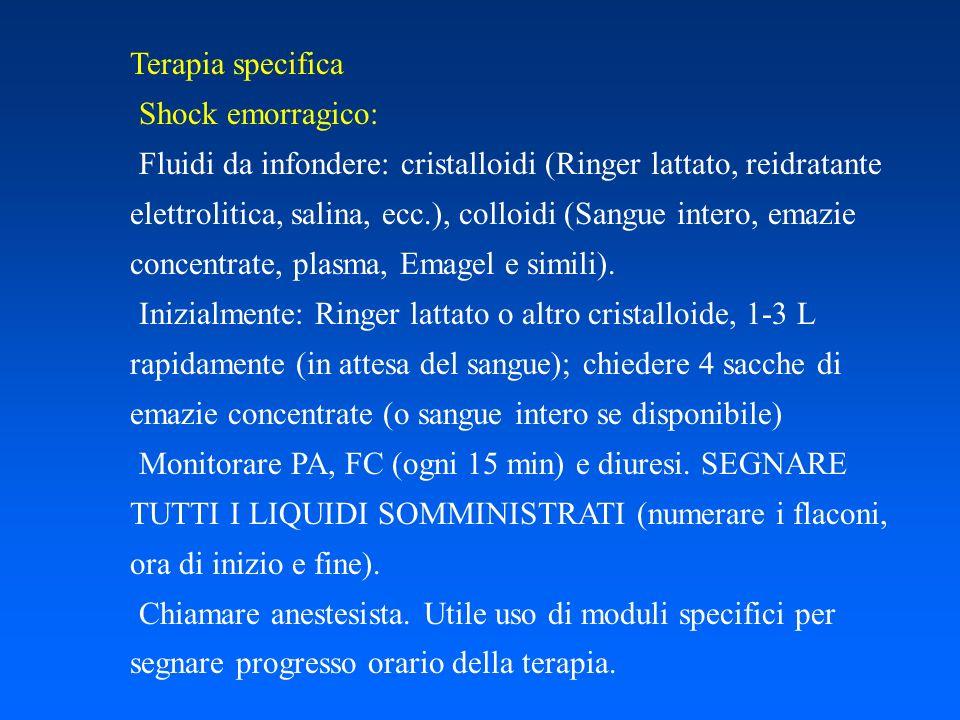 Terapia specifica Shock emorragico: Fluidi da infondere: cristalloidi (Ringer lattato, reidratante.