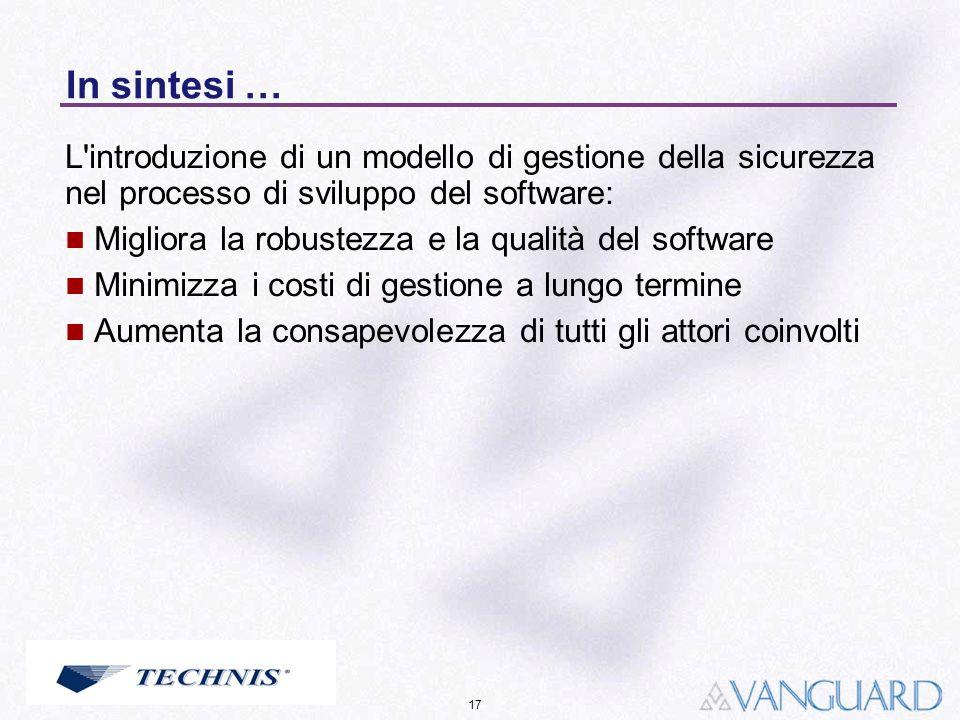 In sintesi …L introduzione di un modello di gestione della sicurezza nel processo di sviluppo del software: