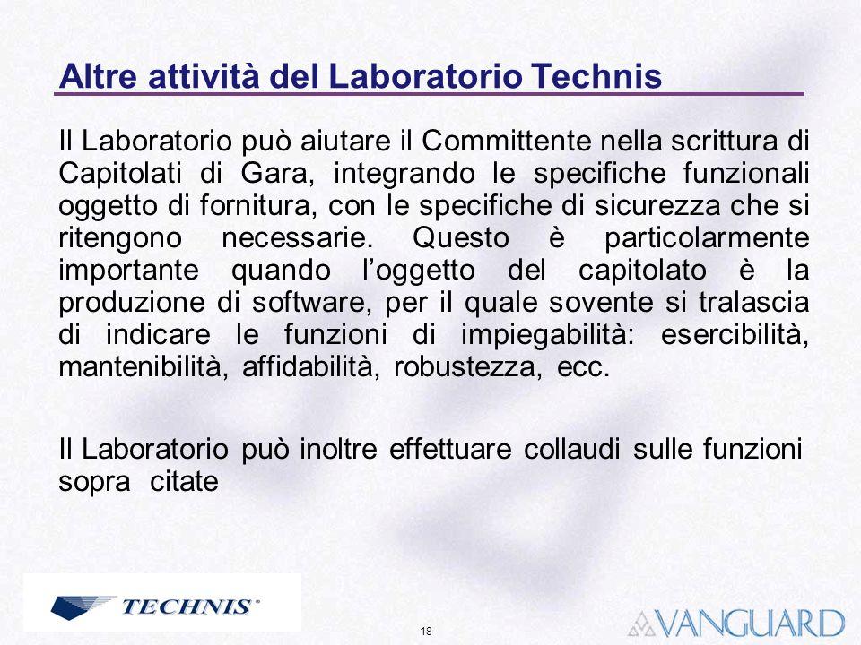 Altre attività del Laboratorio Technis