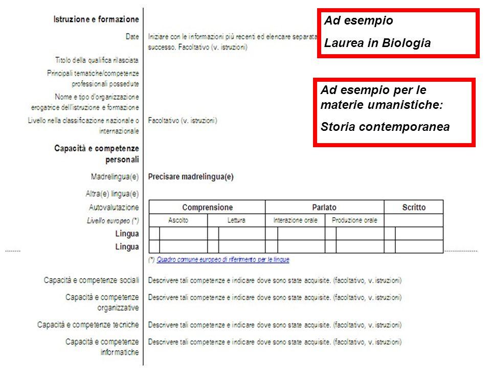 Ad esempio Laurea in Biologia Ad esempio per le materie umanistiche: Storia contemporanea