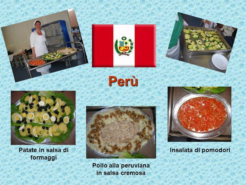 Patate in salsa di formaggi Pollo alla peruviana in salsa cremosa