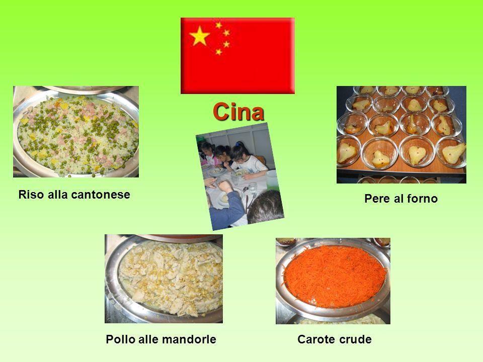 Cina Riso alla cantonese Pere al forno Pollo alle mandorle