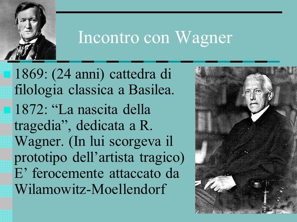 Incontro con Wagner 1869: (24 anni) cattedra di filologia classica a Basilea.