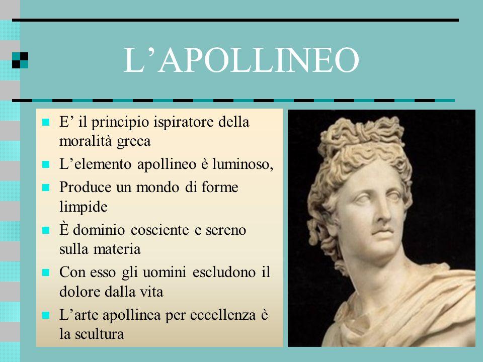 L'APOLLINEO E' il principio ispiratore della moralità greca