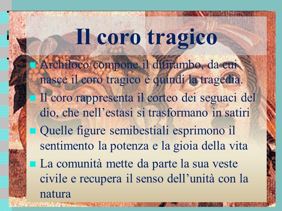 Il coro tragico Archiloco compone il ditirambo, da cui nasce il coro tragico e quindi la tragedia.