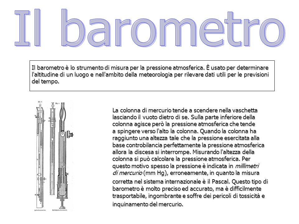 Il barometro Il barometro è lo strumento di misura per la pressione atmosferica. È usato per determinare.