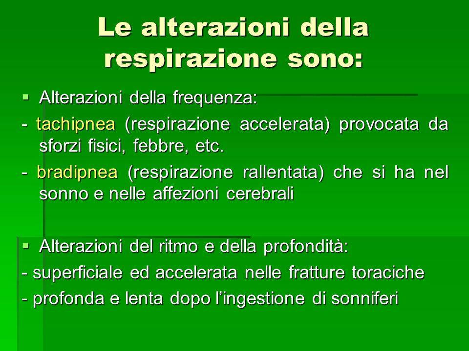 Le alterazioni della respirazione sono: