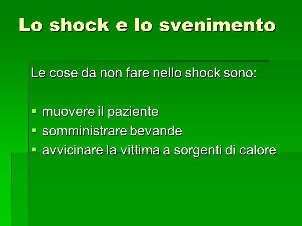 Lo shock e lo svenimento