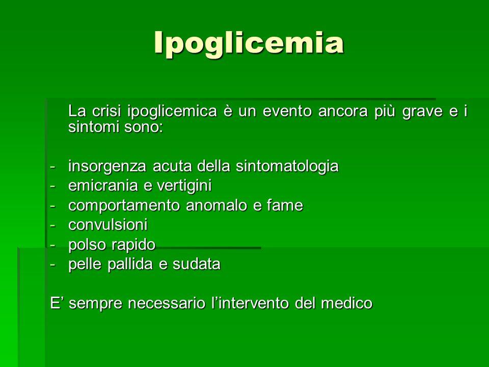 Ipoglicemia La crisi ipoglicemica è un evento ancora più grave e i sintomi sono: insorgenza acuta della sintomatologia.