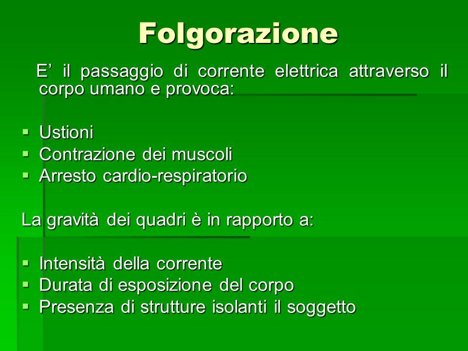 Folgorazione E' il passaggio di corrente elettrica attraverso il corpo umano e provoca: Ustioni. Contrazione dei muscoli.
