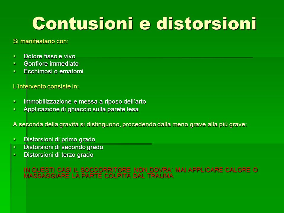Contusioni e distorsioni